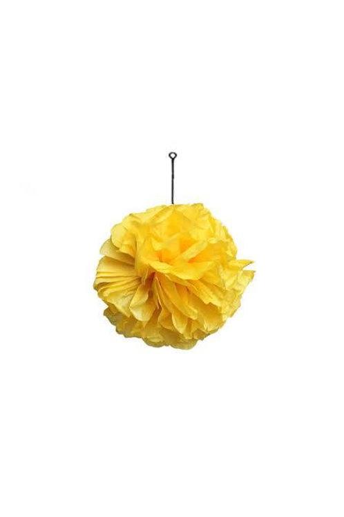 Sarı Kağıt Top Süs Çiçek ( 1 Adet )