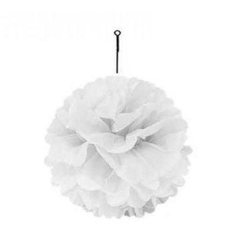 Beyaz Kağıt Top Süs Çiçek ( 1 Adet )