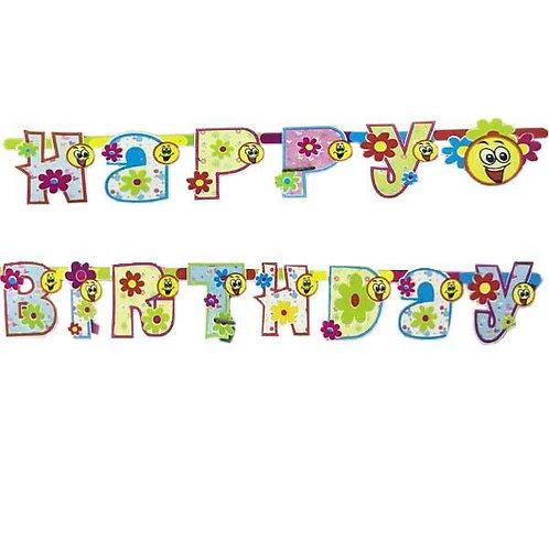Renkli Happy Birthday Açılır Yazı