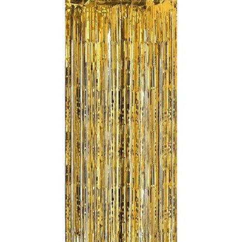 Metalize Gold Işıltılı Püsküllü Arka Fon Perdesi 100x200 cm