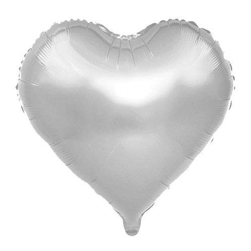 Gümüş Kalp Folyo Balon 45 cm