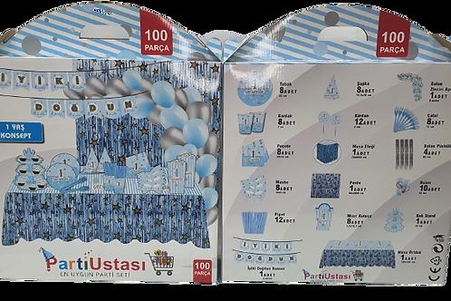 1 Yaş Mavi Konsept Parti Seti 100 Parça
