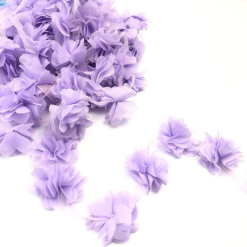 Çiçek Tül Lazer Kesim Lila