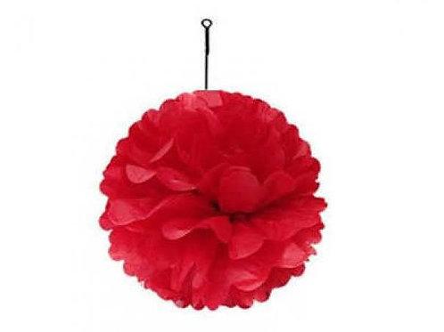 Kırmızı Kağıt Top Süs Çiçek ( 1 Adet )