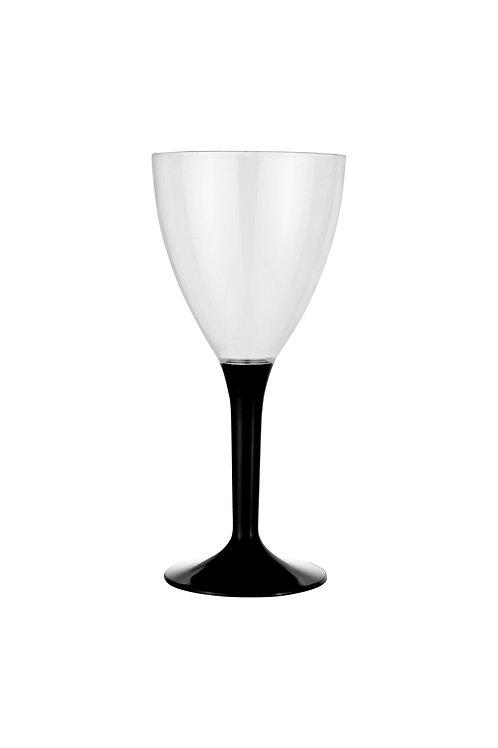 Kristal Siyah Renk Plastik Şarap Kadehi 10'lu