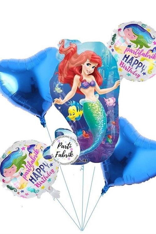 Deniz Kızı Folyo Balon Set