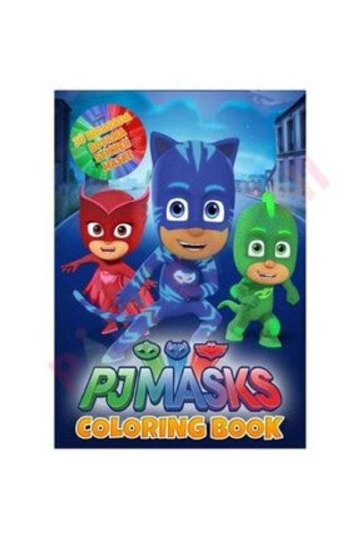 Pj MaskKedi Çocuk, Kertenkele ve Baykuş Kız Boyama Kitabı Stickerlı
