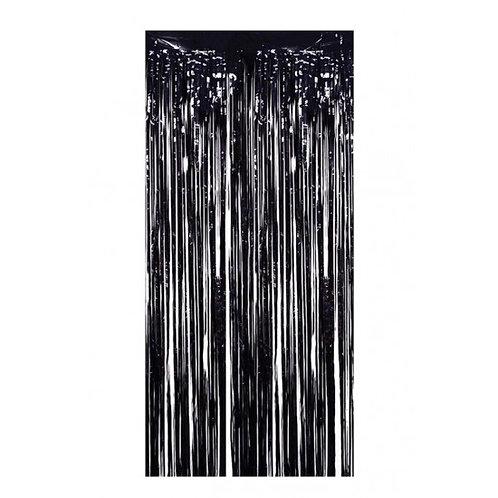 Metalize Siyah Işıltılı Püsküllü Arka Fon Perdesi 100x200 cm