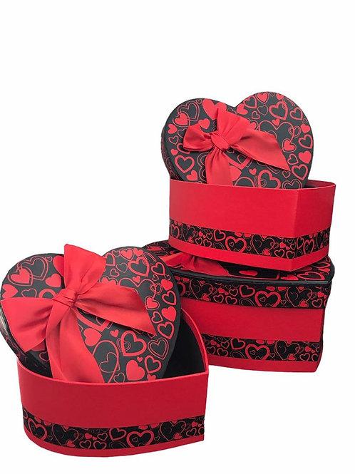 3'lü Kırmızı Siyah Kurdeleli Kalp kutu