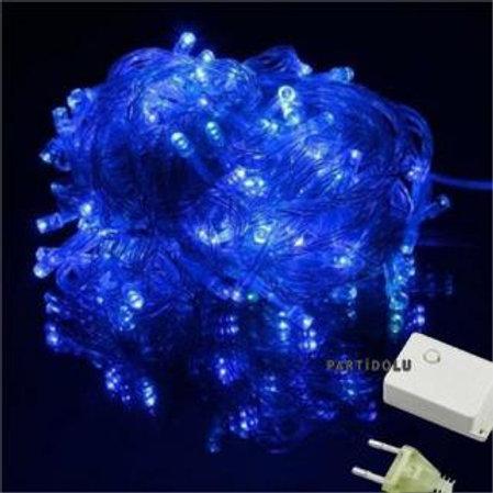 Beyaz Kablolu 100 Ampüllü Led Işık Mavi Renk 10 Metre