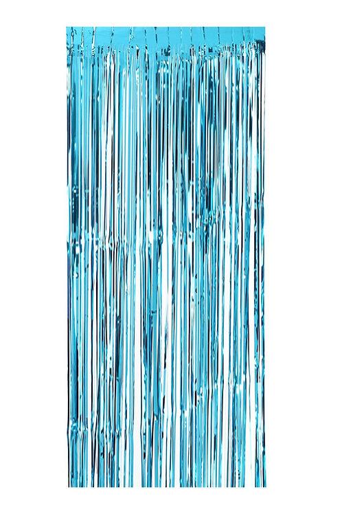 Metalize Mavi Işıltılı Püsküllü Arka Fon Perdesi 100x200 cm