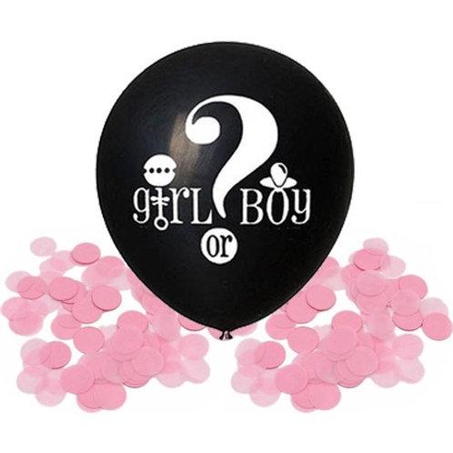 Pembe Balon Konfetili, 40 cm - Cinsiyet Belirleme Balonu