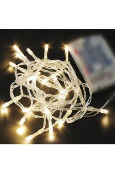 Yılbaşı Ağacı Beyaz Kablolu 5 Metre Gün Işığı Renk Pilli Led Işık