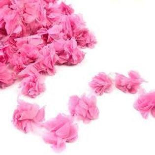 Çiçek Tül Lazer Kesim Pembe