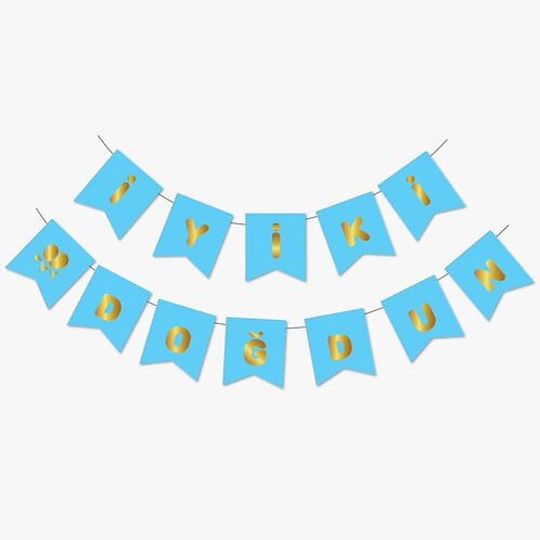 Mavi Gold Yaldızlı Banner