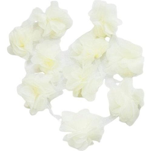 Çiçek Tül Lazer Kesim Krem