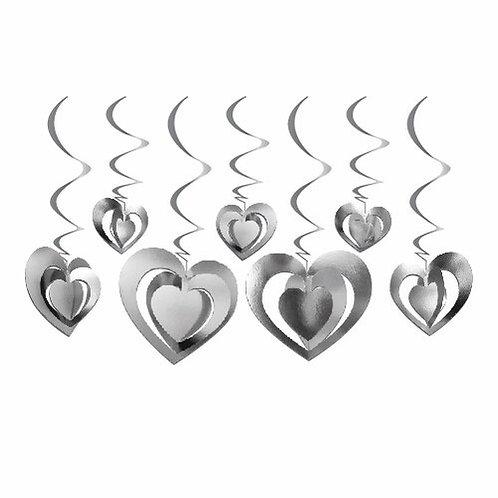 12'lu 3D Tavan Süs Kalp Gümüş