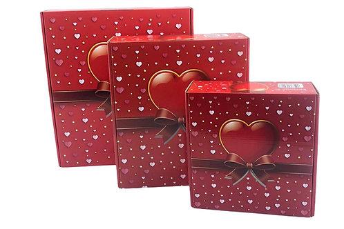 Hediye kutusu kare 3 lü Kırmızı Kalpli P.U