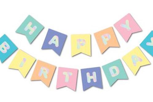 Macaron Hologram Happy Birthday Banner