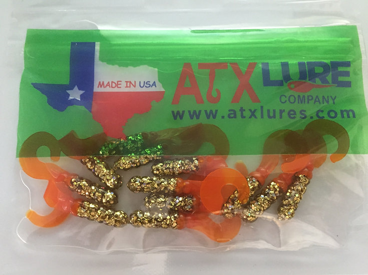 "ATX Lures 1 1/2"" Curly Tails -Golden Glow"
