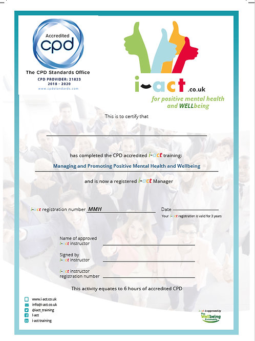 The accredited i-act certificate for managers