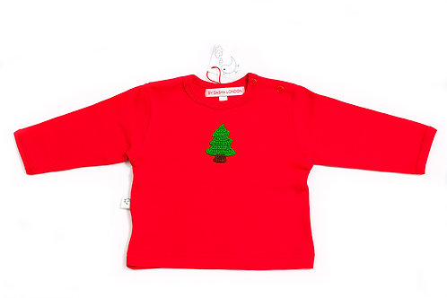 Long Sleeved Red T-Shirt - Christmas Tree