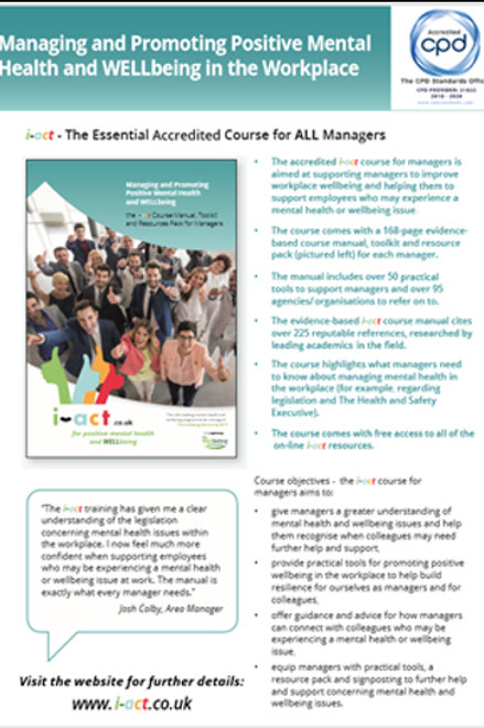 The standard i-act flyer for the course for managers