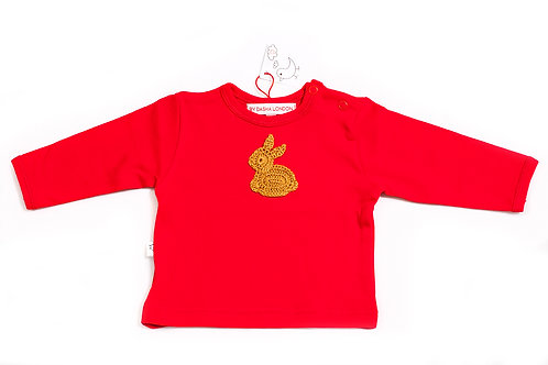 Long Sleeved Red T-Shirt - Bunny