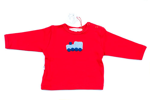 Long Sleeved Red T-Shirt - Blue Train