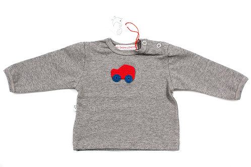 Long Sleeved Grey T-Shirt - Toot Toot Red Car