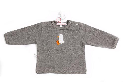 Long Sleeved Grey T-Shirt - Chic Chic Chika - White