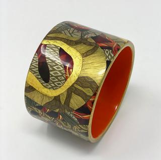 4 bracelet bois laqué et or