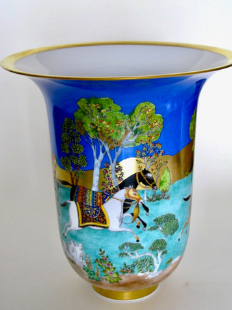 Grand vase cheval d'orient peint main