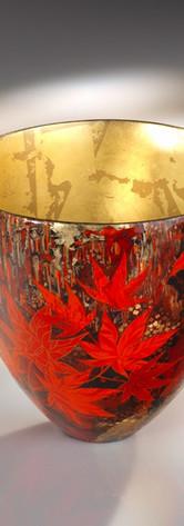 coupe en céramique laquée et feuille d'or