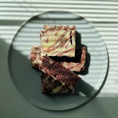 Brownies de red velvet con cheesecake