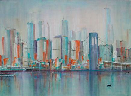 Alex Brana, 2019. NY in orange, 80 x 110