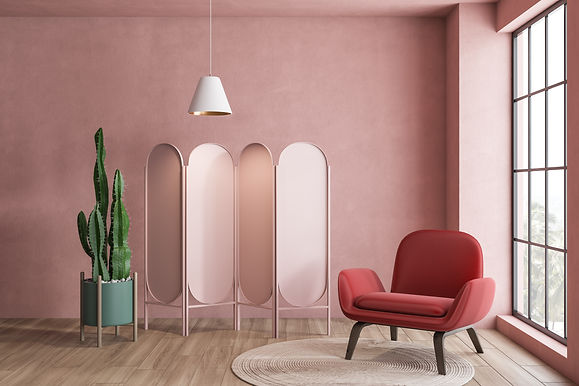 Interior of pink living room with red le