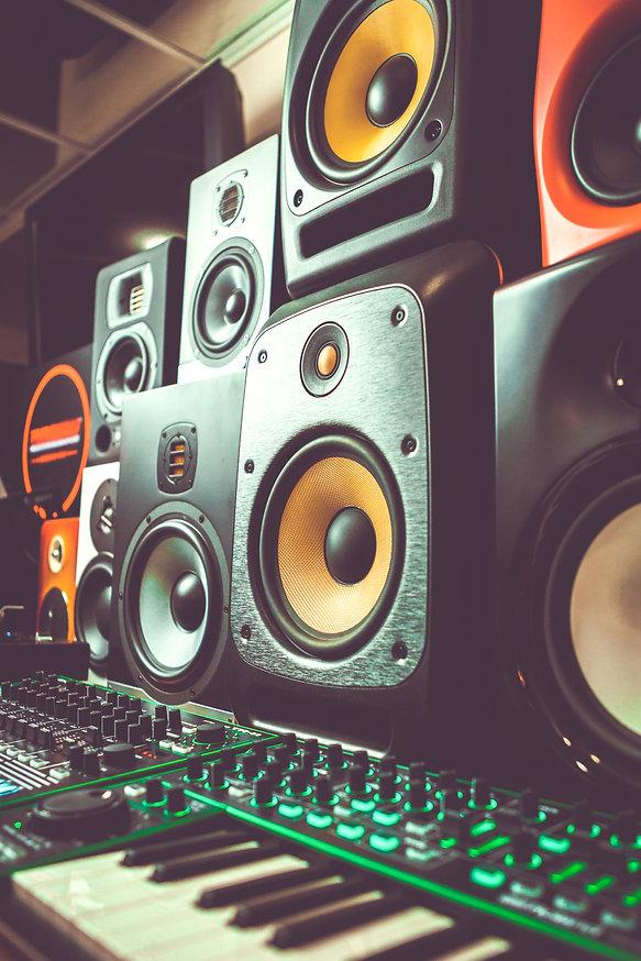 Professional dj shop audio equipment on