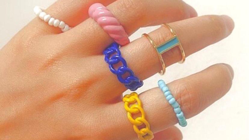 Rice Ring Alloy Resin 6 Piece Ring Set   Onesize