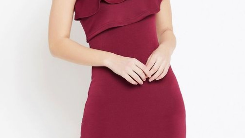 Solid One-shoulder Bodycon Dress