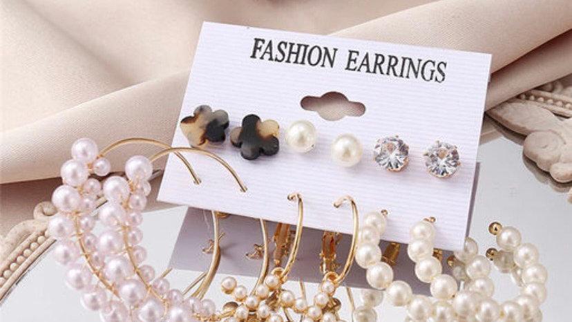 Vintage Pearls 6 Pair Earrings Set