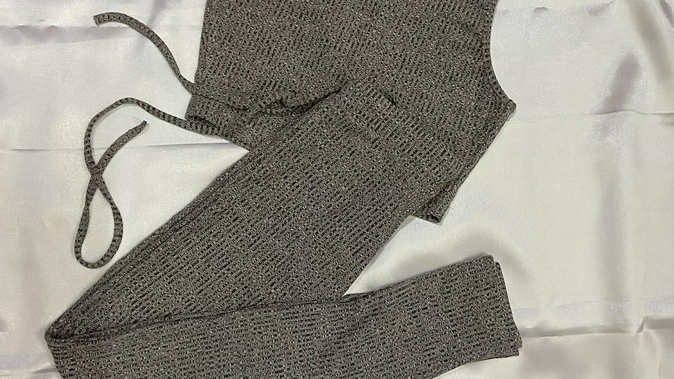 Knit Crop Top and Trouser Lounge Wear Set | Size Xs