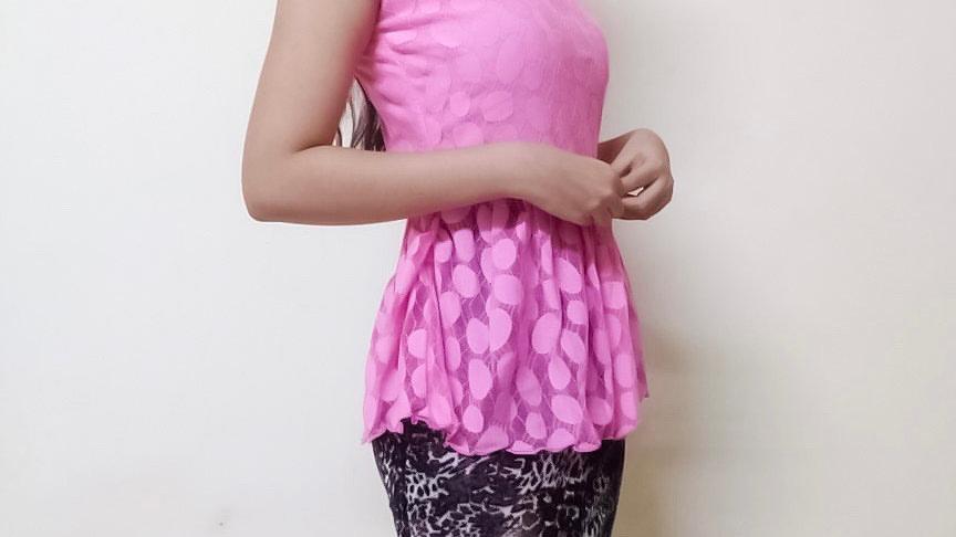 Blush Pink Mesh Peplum Dress   Size S