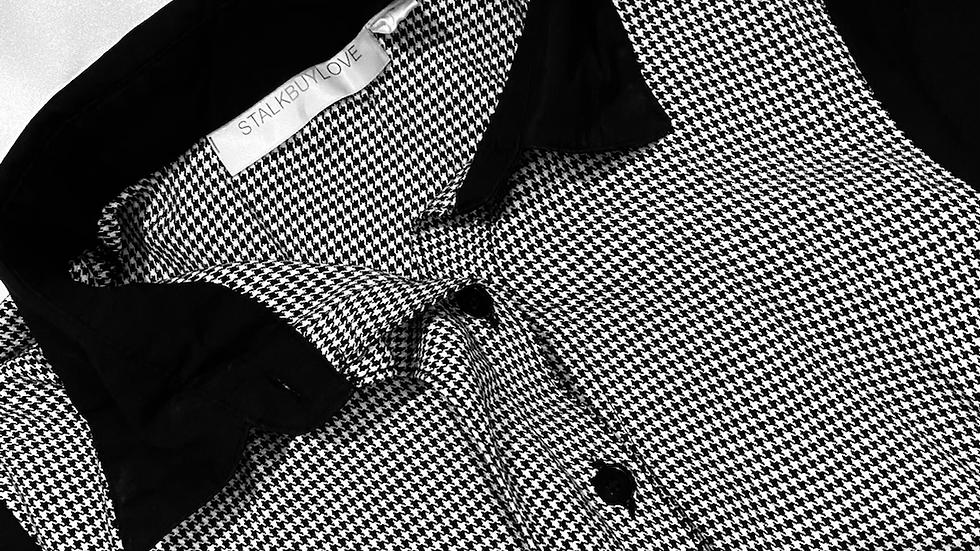 B/W Checkered Sheath Dress | Size: XS