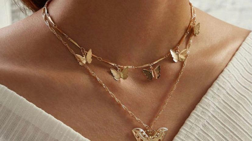 Vintage Style Gold Plated Butterfly Multilayered Neckpiece
