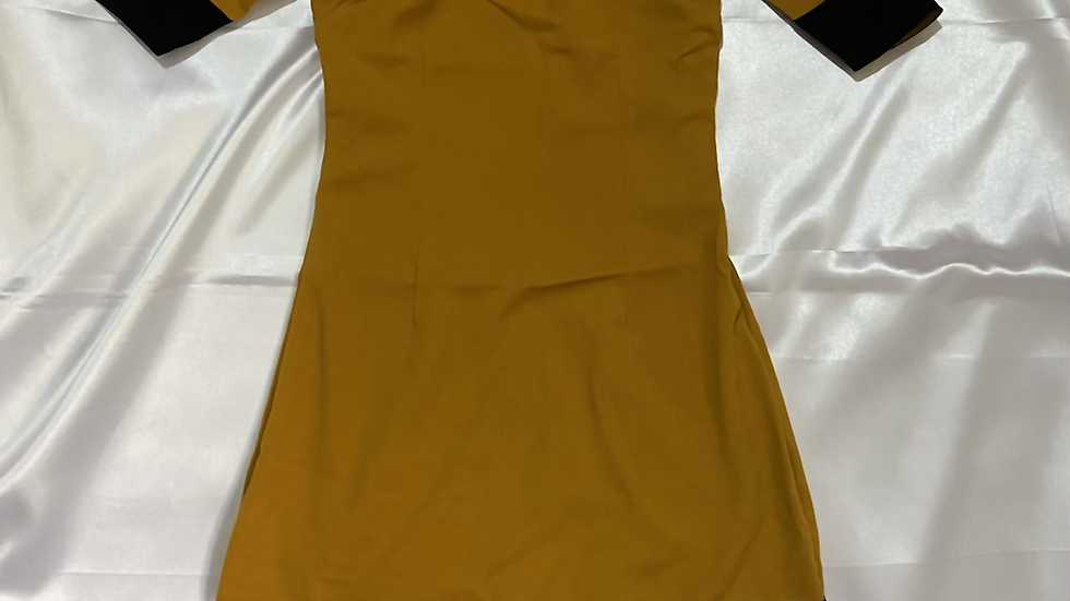 Mustard Solid Sheath Dress | Size XS