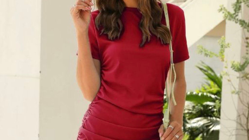 Solid Drawstring Side-fitted Ruched Dress