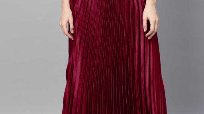 Uptown Pleated Flared Satin Skirts