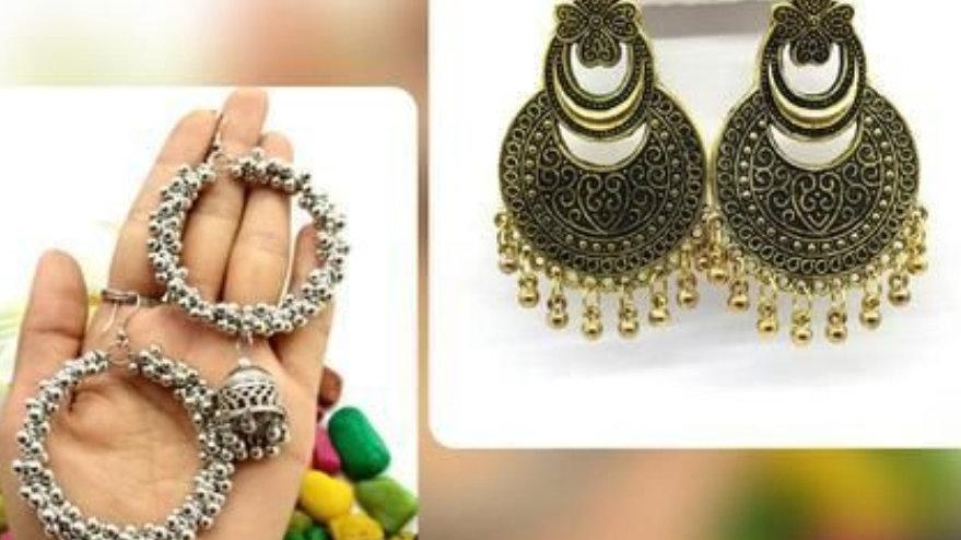 Antique Oxidised Alloy Earrings