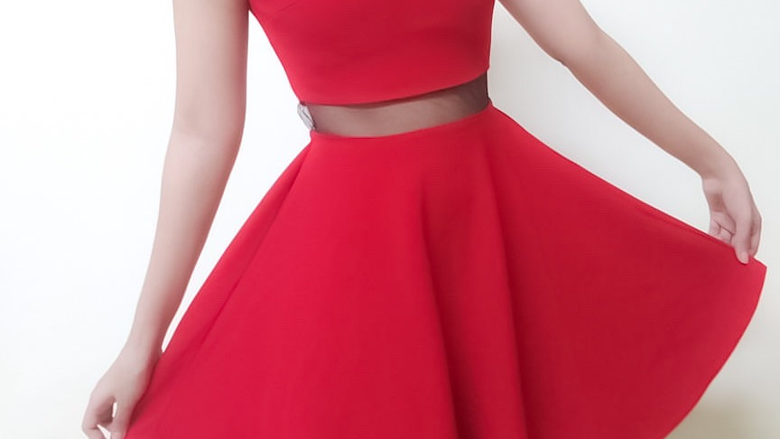 I can't Resist Deep Red Skater Dress | Size S